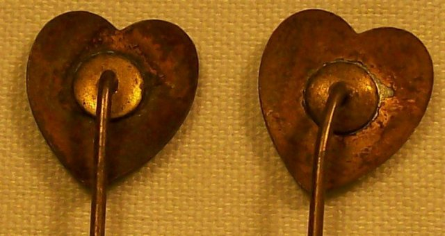 Late 1800's Scarf / Stick Pin Pair Enameled Hearts