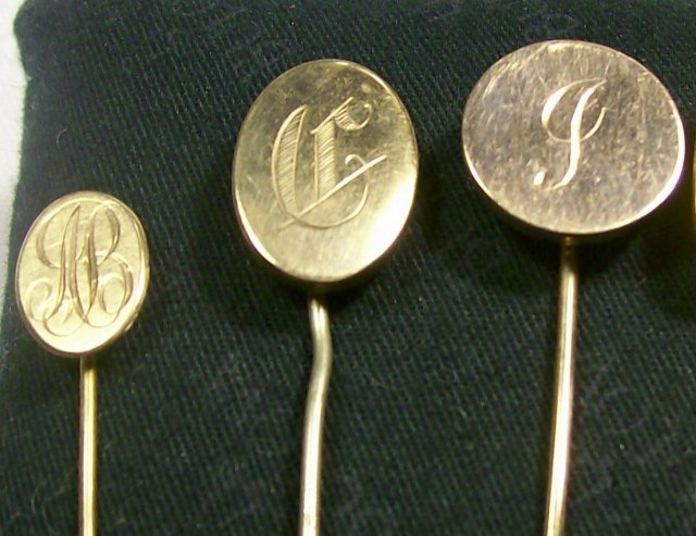 Victorian Gold-Filled Scarf Pin Set of Five with Monograms