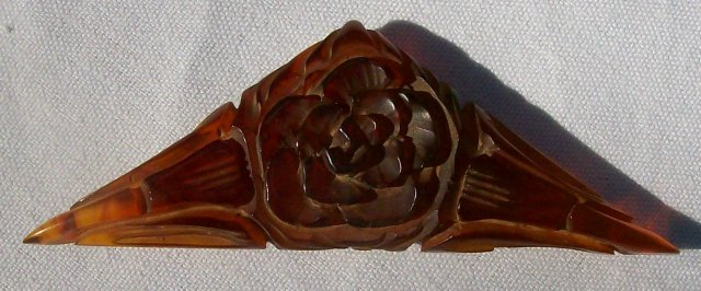 Carved Root Beer Bakelite Plastic Dress Clip Patent 1932 Triangle with Rose/Lilies