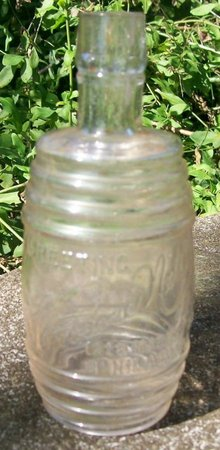 Figural Barrel Advertising Bottle Theodore Netter Philadelphia 1890s Clear 5.75