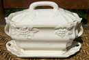 Ceramic Sauce Tureen with Embossed Grapes White Ware 7