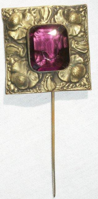 Art Nouveau Scarf/Stick Pin Amethyst Glass & Brass Pansies