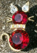 Dodd's Kitty Cat Pin Ruby Red Rhinestones 1960's Marked