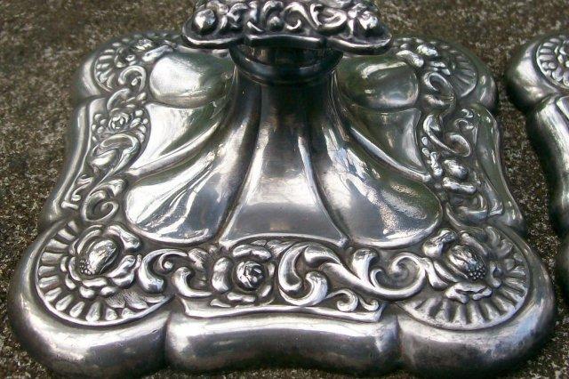 Webster Silver-Plate Candlestick Pair #501 Quadruple Ca. 1900