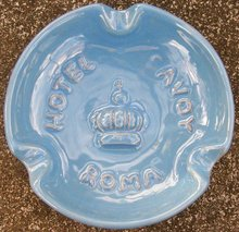 Hotel Savoy Ceramic Ashtray Rome Italy Mid-Century Blue 4 3/8