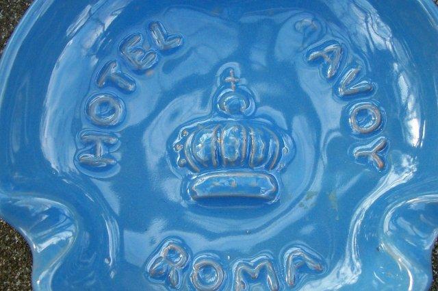 Hotel Savoy Advertising Ceramic Ashtray Rome Italy Mid-Century Blue 4 3/8