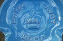Hotel Savoy Ceramic Ashtray Rome Italy Mid-Century Blue 4 3/8