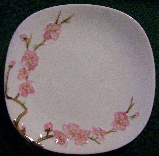 Metlox Poppytrail Peach Blossom Ceramic Plate Pair Ca. 1952 7.75