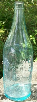 Acme Bottling Co. Glass Bottle Brooklyn, NY Early 1900's Aqua Embossed 27 Ounce