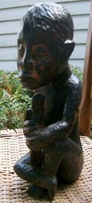 African Wood Carving Seated Man with Staff Tribal Leader Dark Woodtone 14