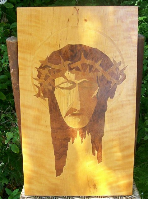 Marquetry Wooden Plaque of Image of Jesus Christ Wall Hanging Veronica
