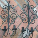 Wrought Iron Candle Sconce Pair Black Scroll 21