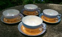 Japanese Luster Ware Cups & Saucers: Set of 4