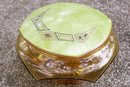 Art Deco Green Celluloid Lid Dresser Jar: Amber Glass 1930's-40's