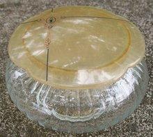 Celluloid Lid Dresser Jar: Clear Glass