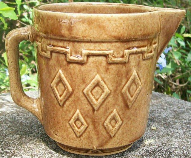 Monmouth/Western Stoneware Pitcher Navajo Indian Diamond Brown 5