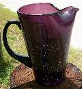 Crackle Glass Pitcher in Deep Amethyst