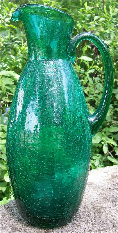 Crackle Glass Pitcher in Teal Green 1950's-60's 12