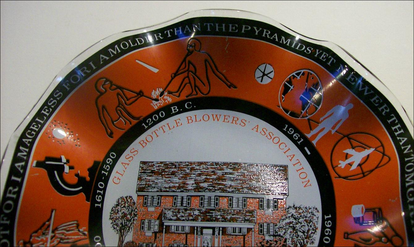 Glass Bottle Blowers Association Commemorative Dish 1975 7.5