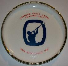 Corning Glass Works Attendance Award Ceramic Ashtray 1961