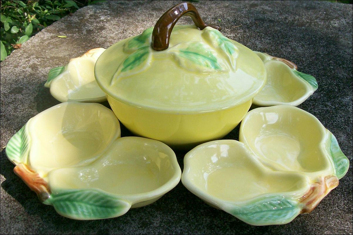Belmar of California Ceramic Five Piece Serving Set: Figural Fruit Yellow & Green