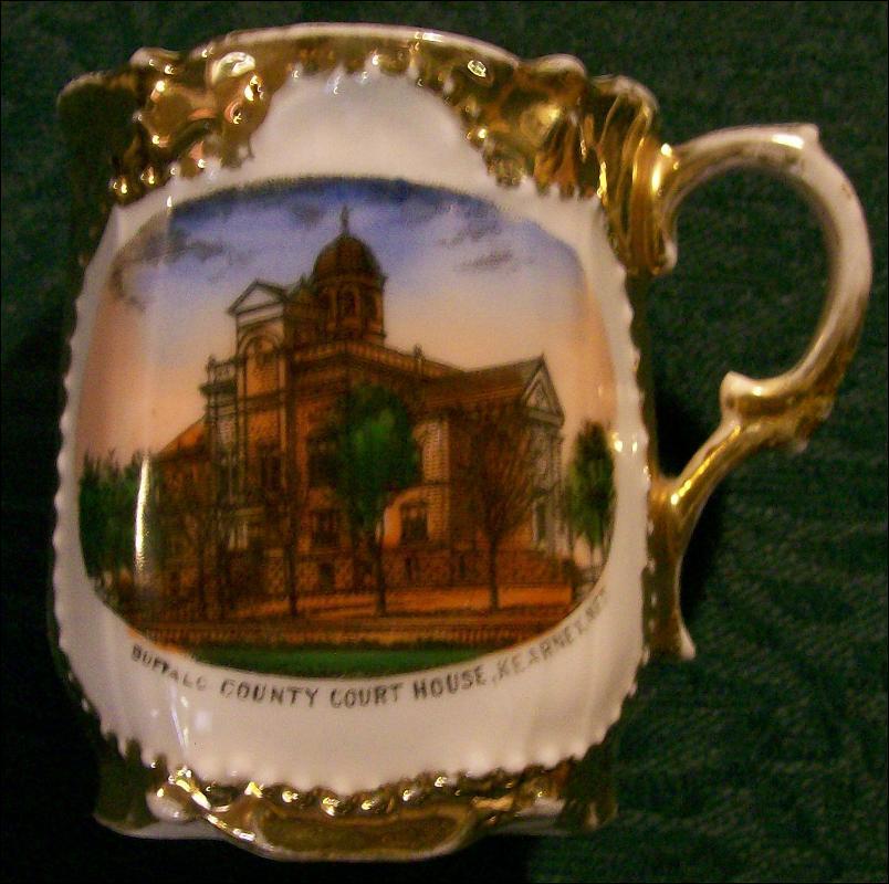 Kearney Nebraska Buffalo County Courthouse Souvenir Porcelain Cup Ca. 1900