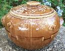 Monmouth/Western Stoneware Bean Pot with Diamond Pattern
