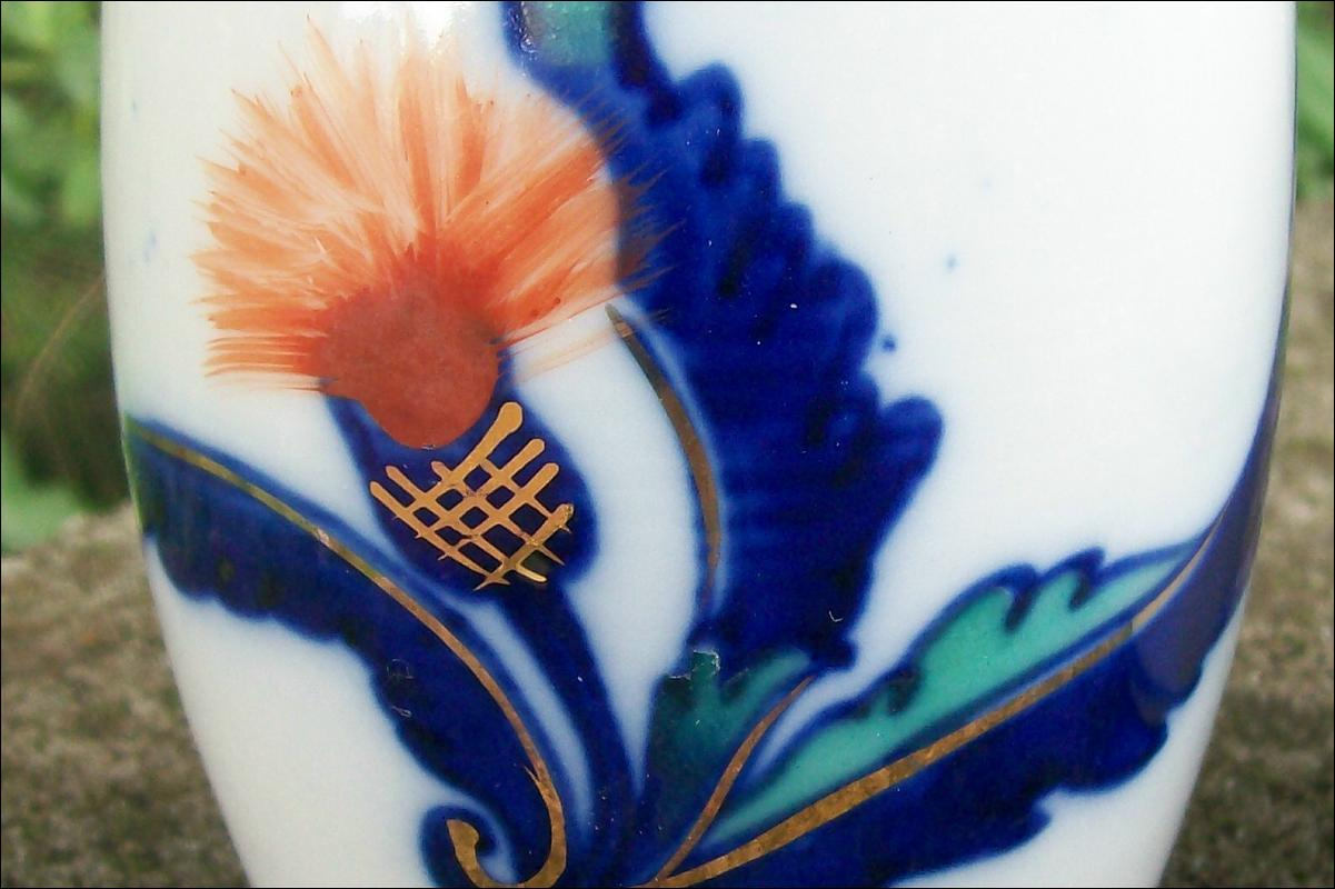 Japanese Porcelain Tumbler Pair Orange Thistle/Cobalt & Gold