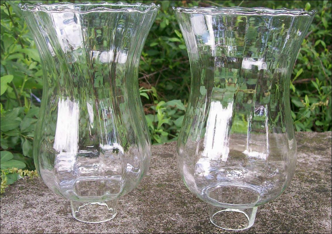 Blown Glass Fixture Shade Pair Clear Paneled Optic 7.5
