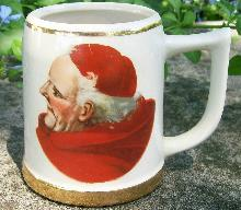 Ceramic Beer Mug with Cardinal/Monk Decal #1