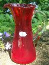 Bischoff Ruby Red Pitcher: Hand Blown