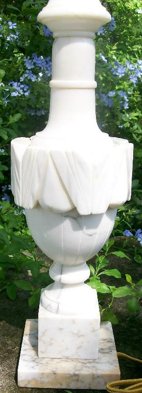 Carved Alabaster & Marble Table Lamp