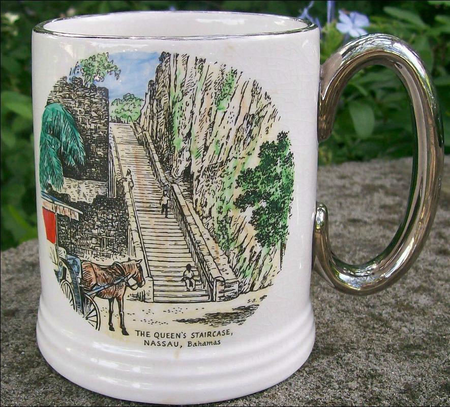Nassau Bahamas Souvenir Ceramic Mug/Stein Queen's Staircase Ca. 1950's