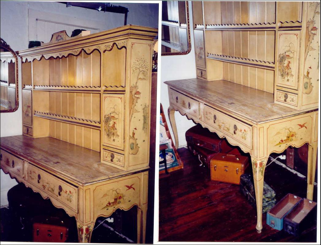 Chinoiserie Pewter Cupboard/Sideboard/Hutch 1920's Yale Locks