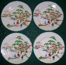 Geisha Girl Porcelain Plate Set of 4: