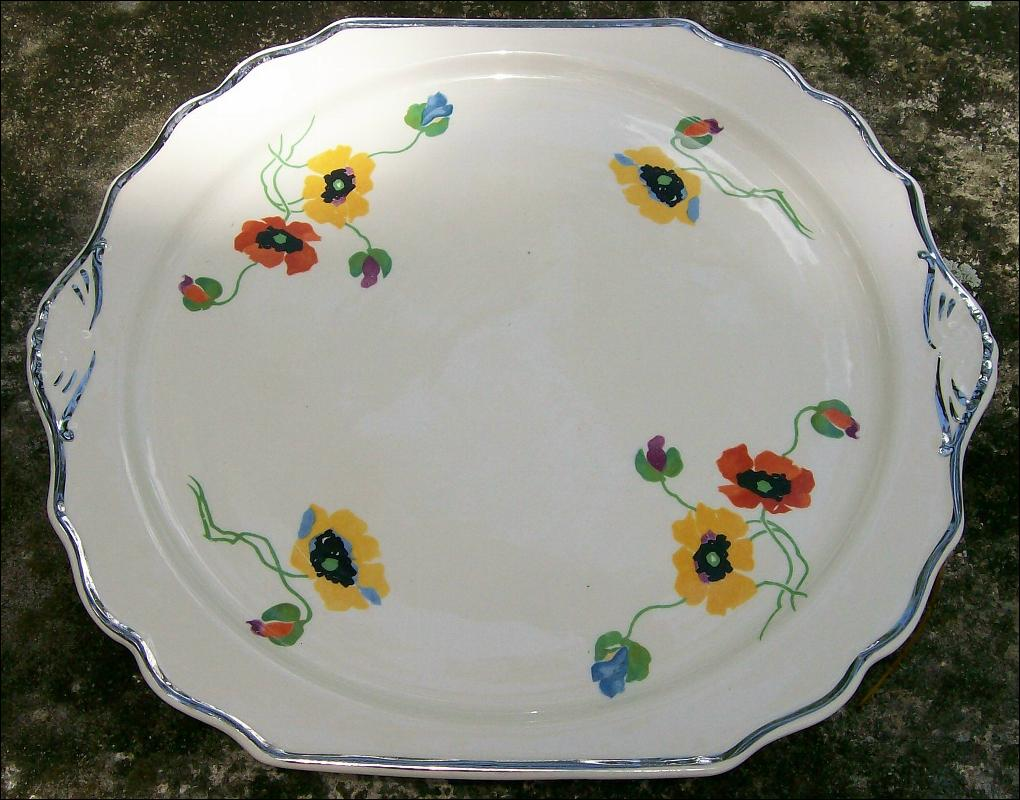 Harker Deco Handled Cake Plate: Anemones