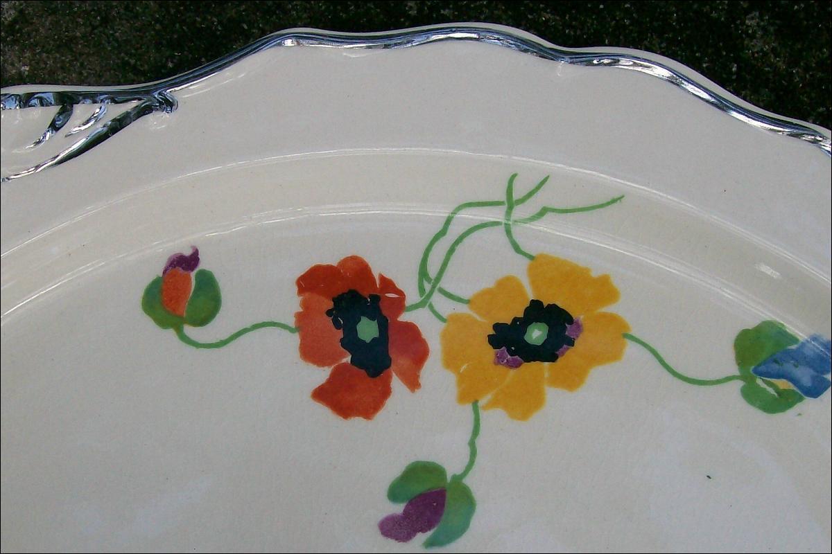 Harker Anemones/HAR57 Handled Cake Plate 1930s Art Deco 12