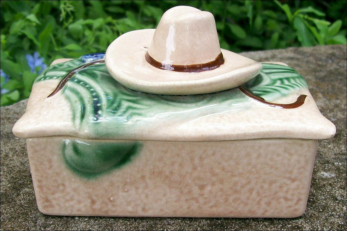 Western Cowboy Themed Covered Ceramic Box 1930s-50s Japan