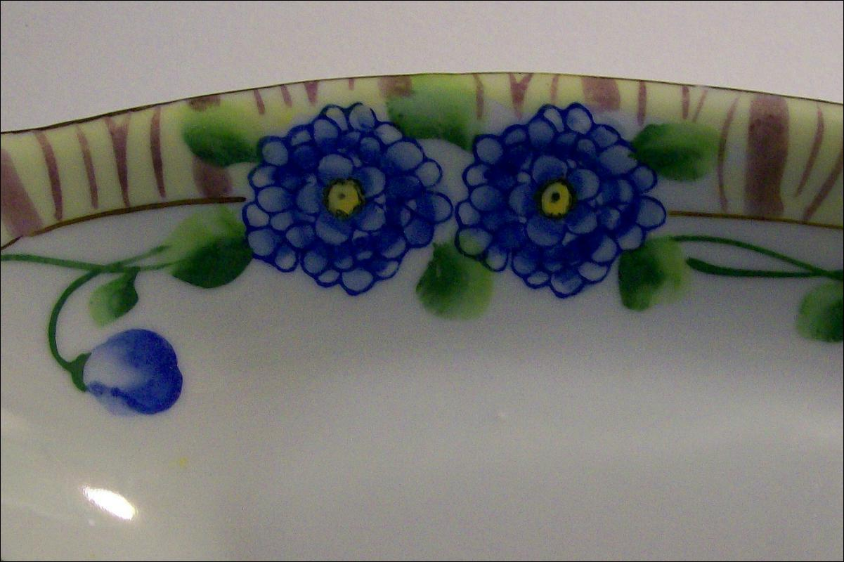 Japanese Porcelain Celery Dish with Blue Flowers: 1920's-30's