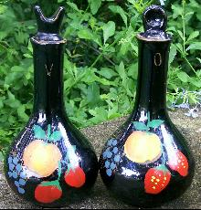 '50's Japan Oil & Vinegar Cruets: Hand-painted Fruit
