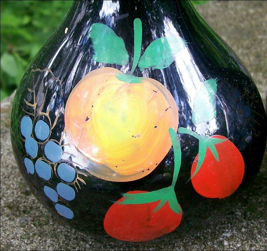Mid-Century Japan Ceramic Oil & Vinegar Cruets Black w/Hand-Painted Fruit 6.75