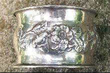 Sterling Silver Napkin Ring: Repousse Roses