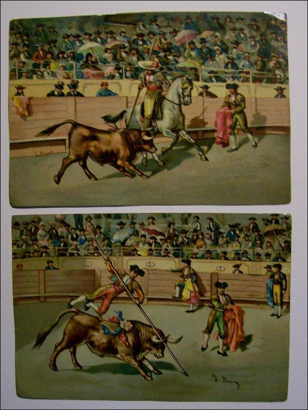 Bullfight Chromolithograph Print Set of 12  J. Arias