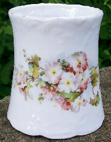 Ceramic Toothbrush Holder Ca. 1900 Emb Scrolls/Floral Decal