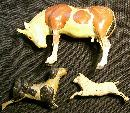 Victorian Era Composition Toy Animals 1800's Germany Christmas Creche/Nativity Set of 3 As Is