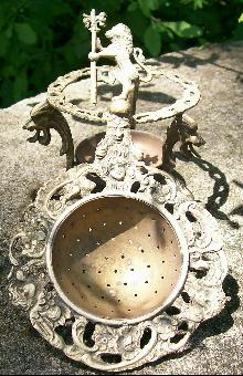 Ornate Italian Brass Tea Strainer with Stand Lions Cherubs/Angels Green Man