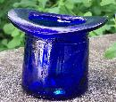 Cobalt Blue Glass Top Hat Novelty Vase 2.5