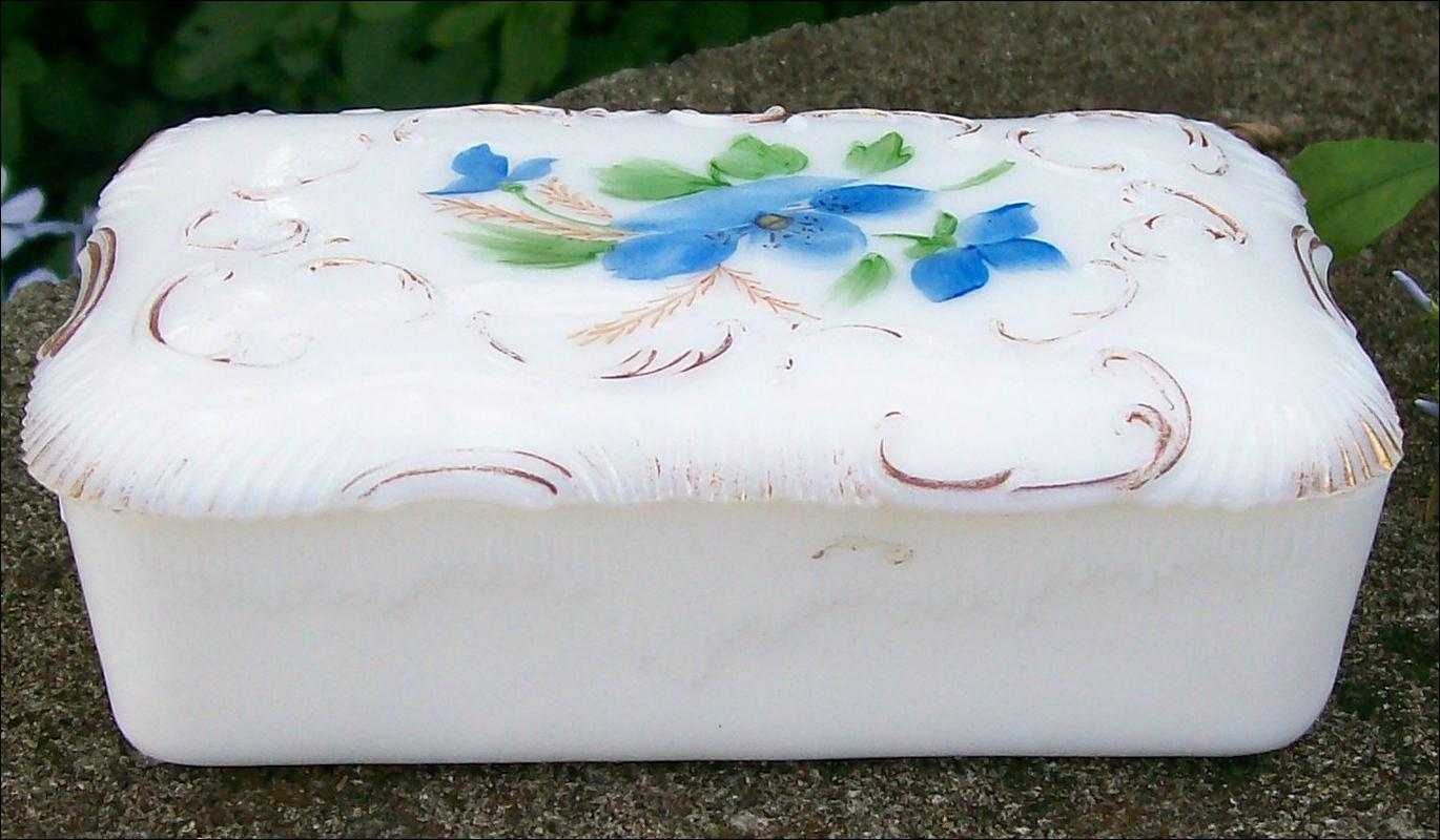 Opal Glass Covered Box with Hand-painted Flowers
