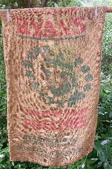 Ryan's Potatos Advertising Burlap Sack Ca. 1960s Grand Forks Michigan