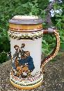 Mettlach German Ceramic Stein #1471 Musicians C. Warth Artist 1895